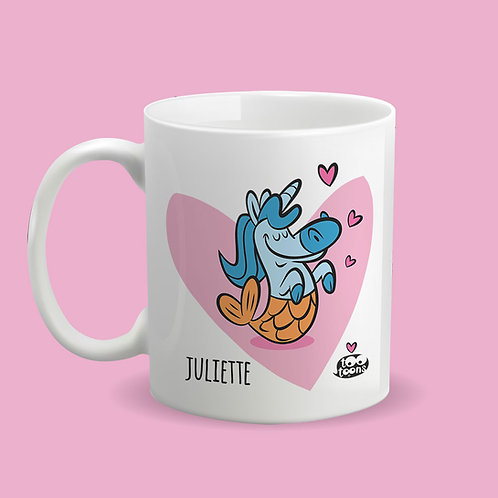 Mug Céramique cartoon Tootoons, modèle Licorne/Poisson, texte personnalisable