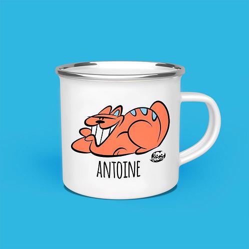 Mug vintage Tootoons 480 ml, modèle Chat souriant, texte personnalisable