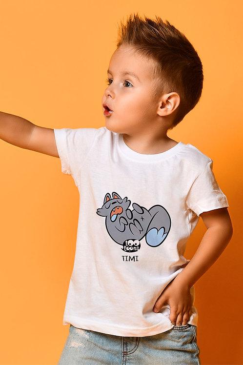 Tee-shirt Enfant/Ado Tootoons, modèle Chat relax, texte personnalisable