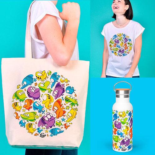 Coffret AVENTURE Poissons : 1 Tee-shirt Femme + 1 Gourde 500 ml + 1 Tote-bag