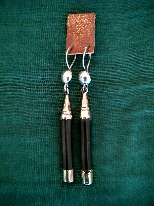 boucle d'oreille en bois d'ébène et argent Touareg