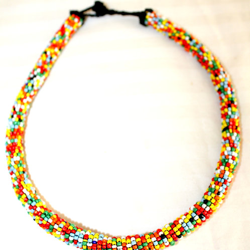 #7093 - Collier tuyeau rond multicolore