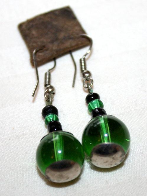 #7037 - Boucle d'oreille argent et perles vertes