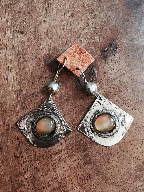 boucle d'oreille en argent Touareg pierre agate