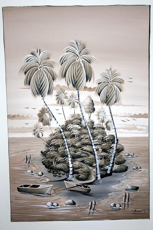 #1003 - Tableau - Palmiers île de pêcheurs
