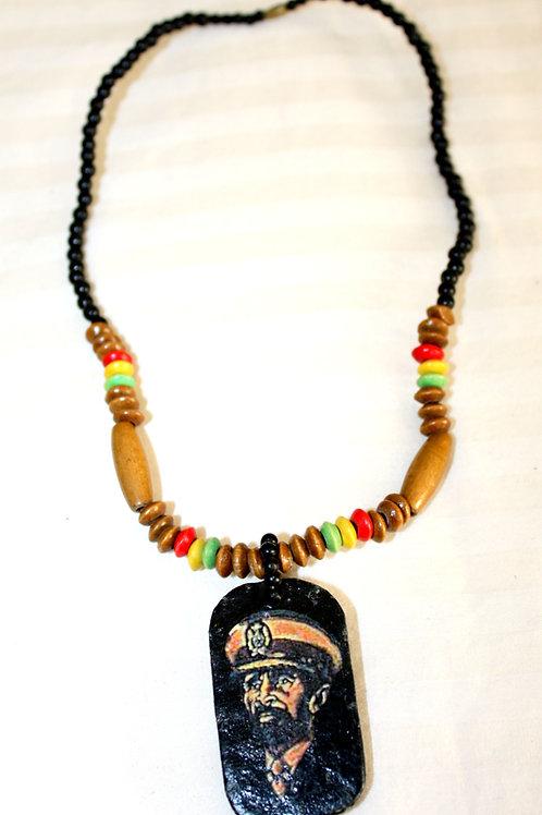 #7092 - Collier Haile Selassie I (rasta)
