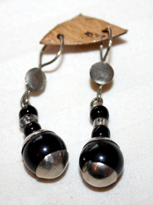 #7035 - Boucle d'oreille argent et perles noires
