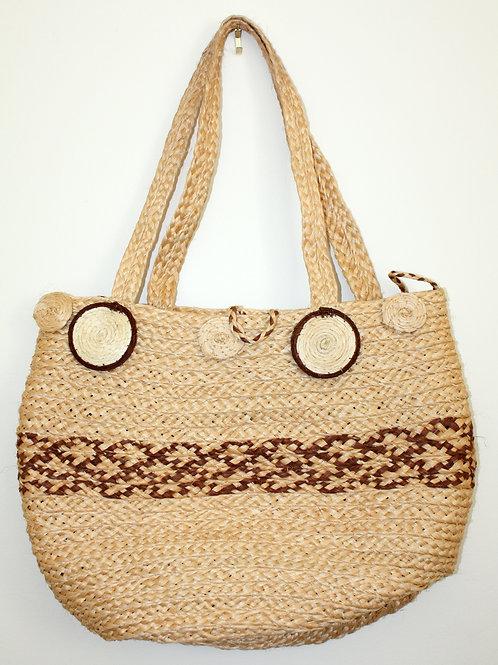 #5003 - Moyenne sacoche de paille - tressé brun