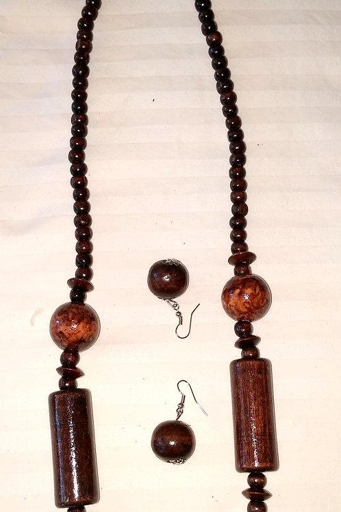 #7150 - Collier en bois + boucle d'oreille