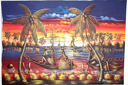 #1000 - Tableau - Palmier coucher de soleil