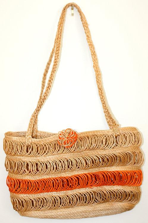 #5004 - Petite sacoche de paille - tressé orange