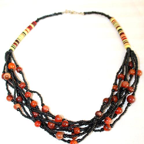 #7076 - Collier perle rouge et paillette