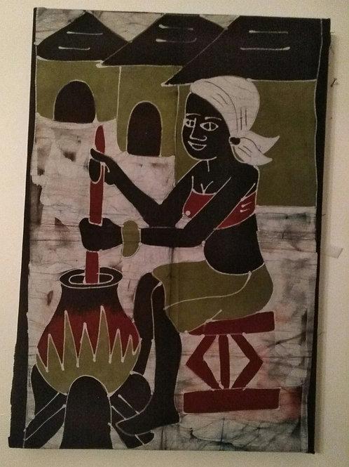 Batique - gens au village - Femme qui cuisine