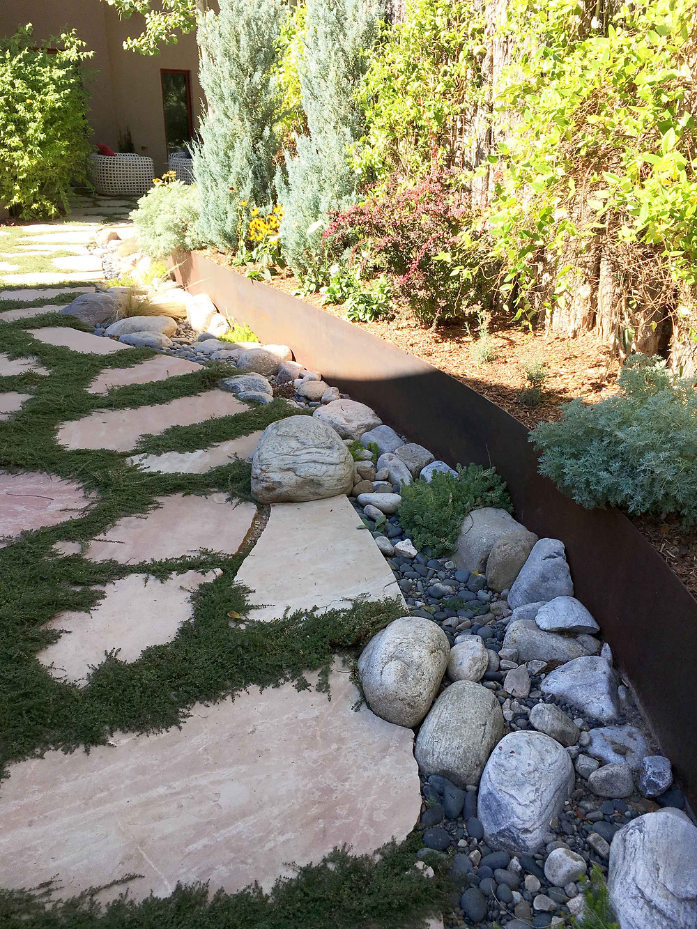 swale, rain garden, drought tolerant, los angeles, sustainable, landscape design