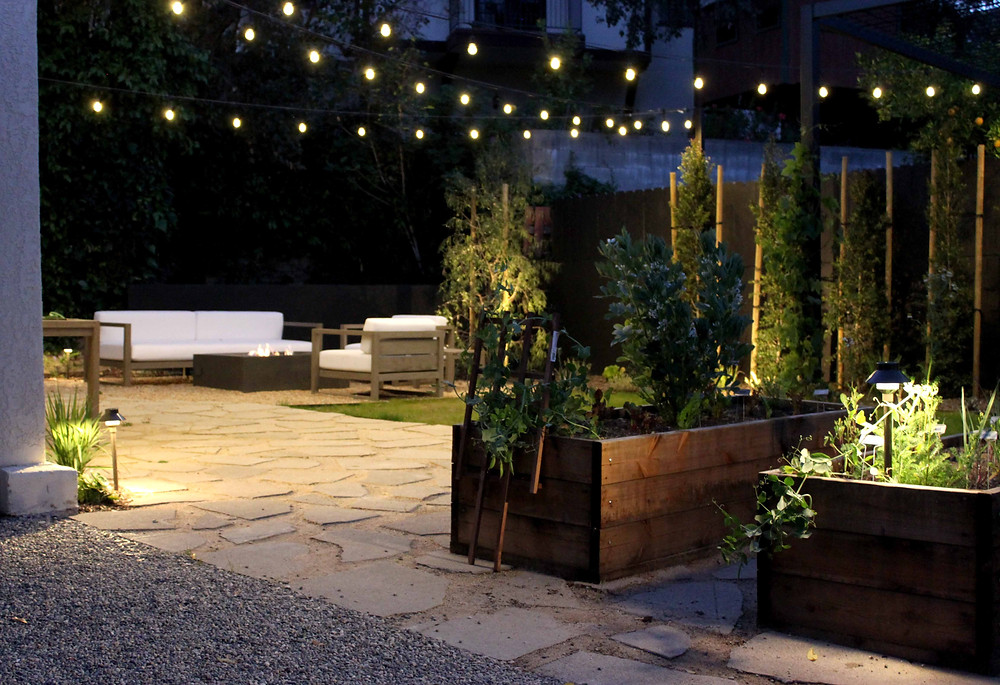 outdoor lighting, raised beds