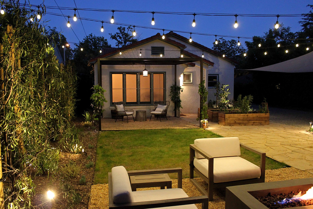 outdoor seating, outdoor lighting