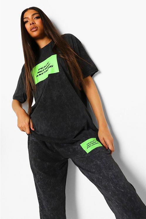 Tall Neon Peace Acid Wash T-shirt Tracksuit
