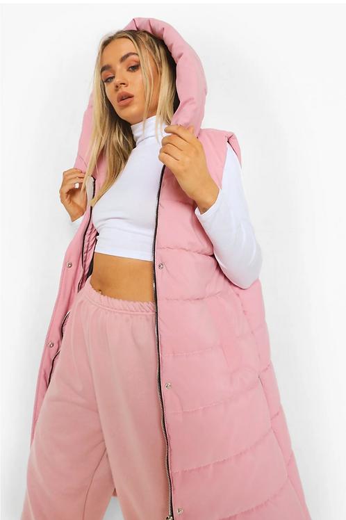 Longline Hooded Gilet - Pink Color