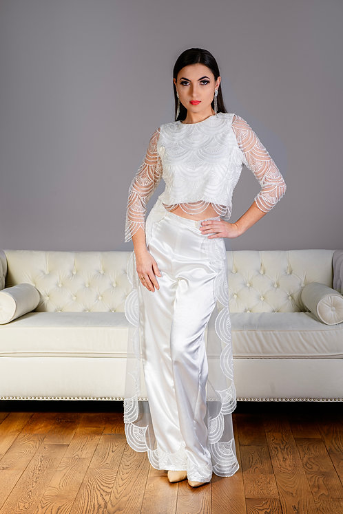White Satin Special Occasion Outfit
