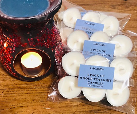 9 hour Tea light candles (non scented) 6 pack