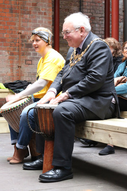 Mayor & Daria drum courtyard