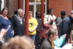 Mayor & Daria enter courtyard