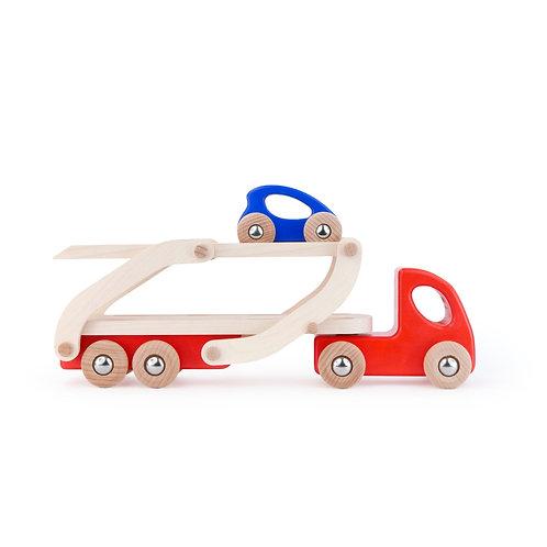 Set Autotransporter aus Holz