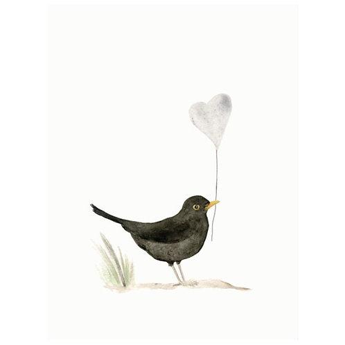 Karte Schwarzer Vogel mit Herz
