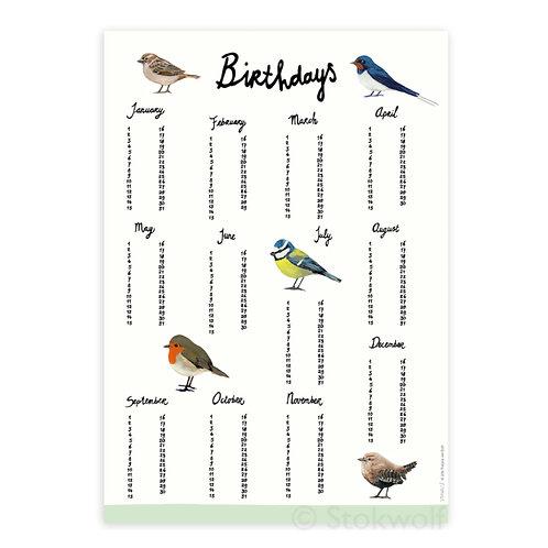 Geburtstagskalender Vögel