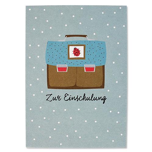 Postkarte Schulranzen, Marienkäfer