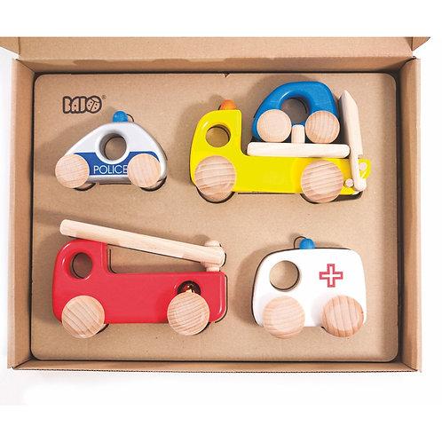 Set Einsatzfahrzeuge aus Holz | BAJO