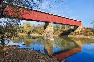The Williams Covered Bridge spans the East Fork of the White River in rural Lawrence County, Indiana