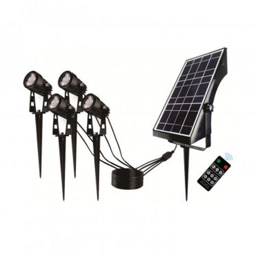 Pack de 4 spots LED sur piquet, solaire, 4W, avec télécommande IR