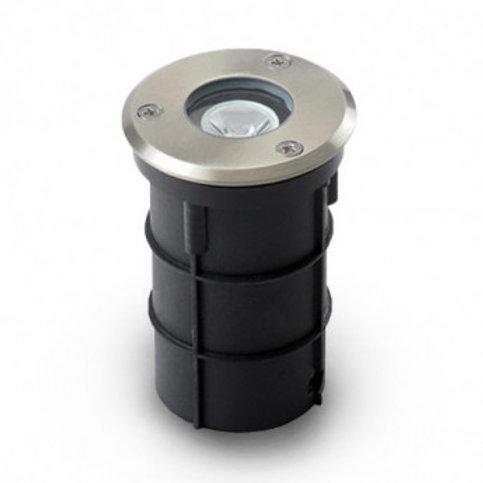 Spot LED encastrable au sol rond extérieur cadre gris anthracite, étanche, 3W
