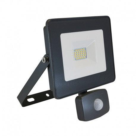 Projecteur LED extérieur cadre gris, 20W, avec détecteur