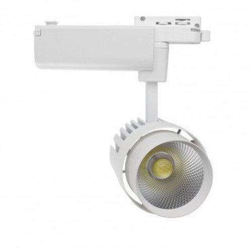 Spot LED, cadre blanc, orientable, pour rail monophasé, 30W