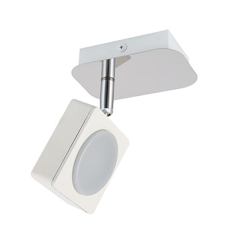Plafonnier blanc, orientable, 1 spot, 6W