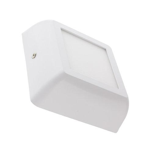 Plafonnier LED carré, cadre blanc, 6W