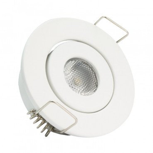 Spot LED COB rond cadre blanc, orientable, 1W