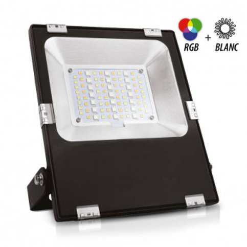 Projecteur LED extérieur cadre noir, 20W, RGB + blanc