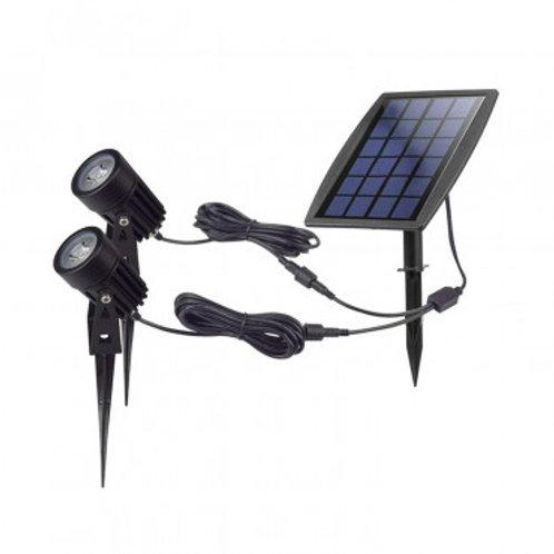 Pack de 2 spots LED sur piquet, solaire, 2W