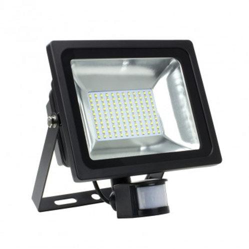Projecteur LED SMD extérieur cadre noir, 50W, avec détecteur
