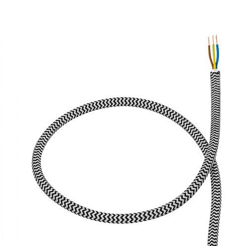 Câble textile noir et blanc en PVC (6m)