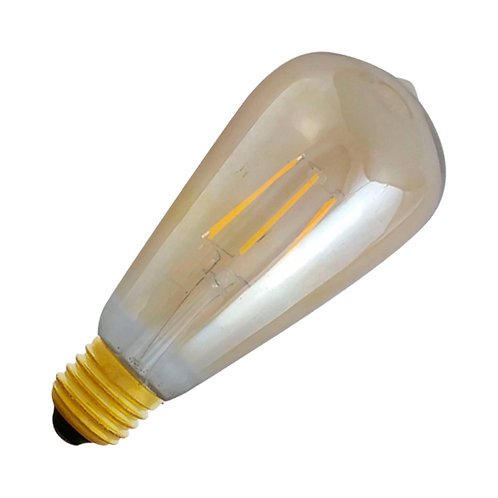 Ampoule LED COB E27 ST64, filament, 8W, golden