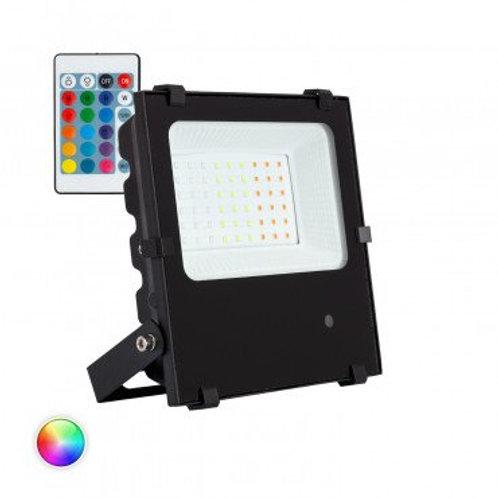 Projecteur LED extérieur cadre noir, 30W, UGR22, RGB, dimmable