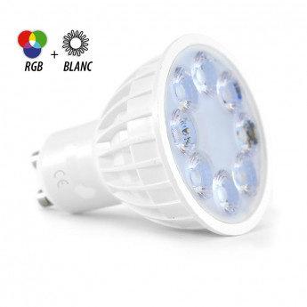 Ampoule LED GU10, angle d'ouverture 25°, 4W, RGB + Blanc, dimmable