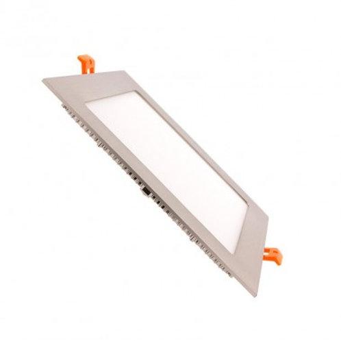 Dalle LED SMD carrée cadre argenté, 15W