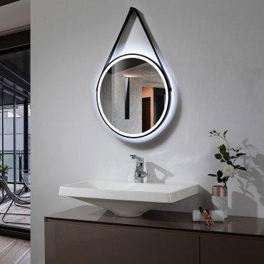 Miroir LED SMD2835 rond, 40W, température sélectionnable tactile, anti-buée