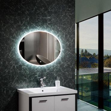 Miroir LED SMD2835 ovale, 45W, anti-buée