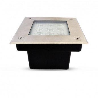 Balise LED extérieure de sol, encastrable, cadre gris, 9W, IP67